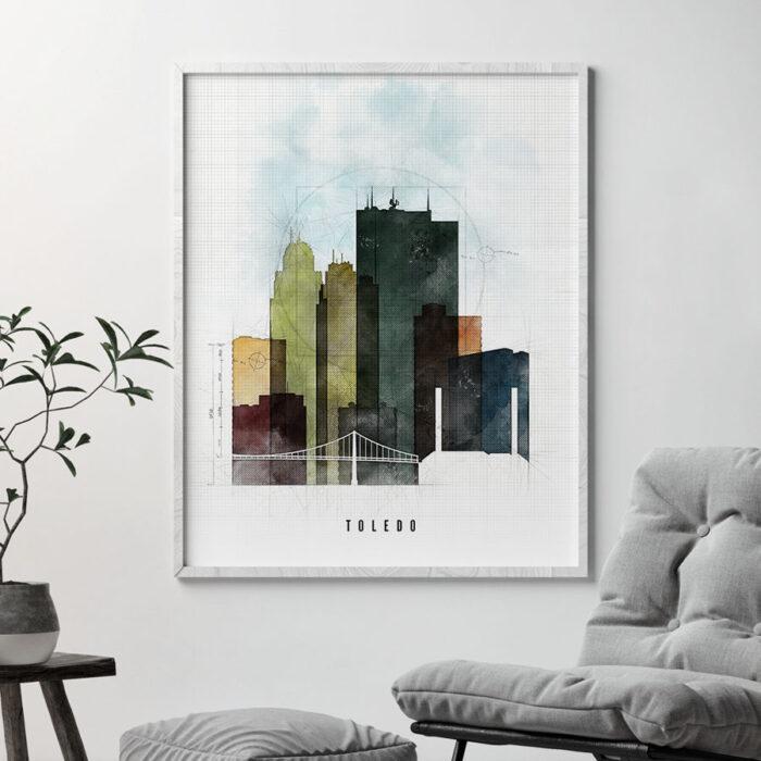 Toledo Skyline Print Urban 2 Second
