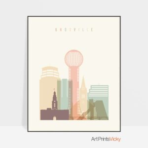 Knoxville Skyline Print Pastel Cream
