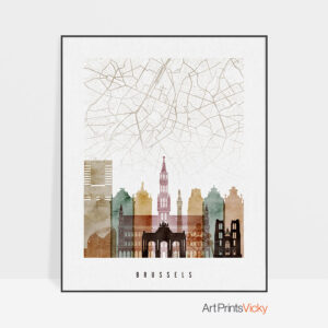 Brussels Map Print Watercolor 1