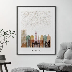 Brussels Map Print Watercolor 1 Second