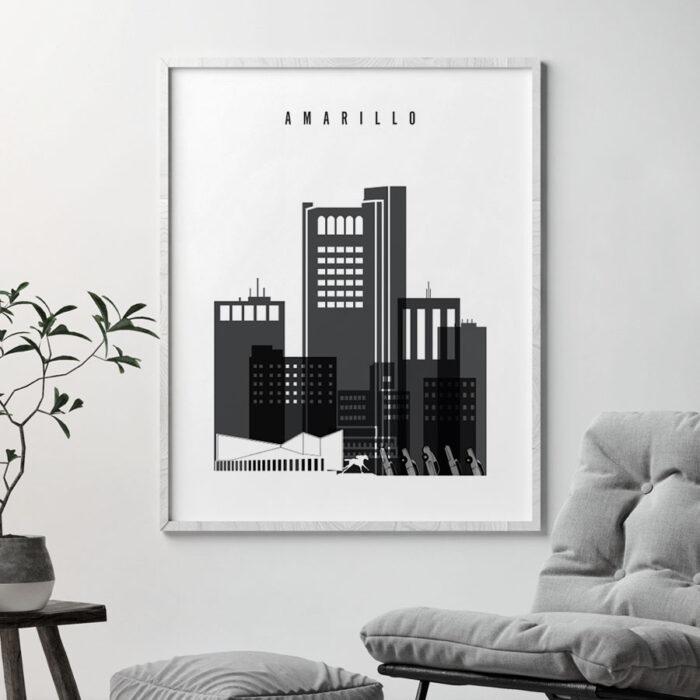 Amarillo Poster Black White Second