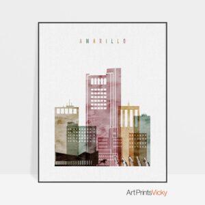 Amarillo Skyline Art Watercolor 1