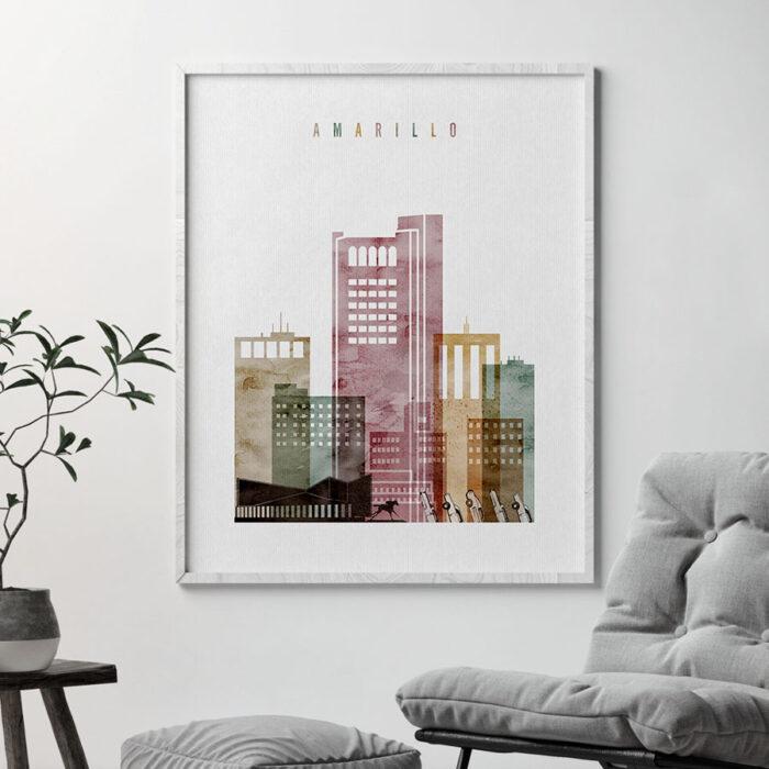 Amarillo Skyline Art Watercolor 1 Second