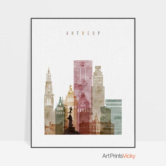 Antwerp Skyline Print Watercolor 1