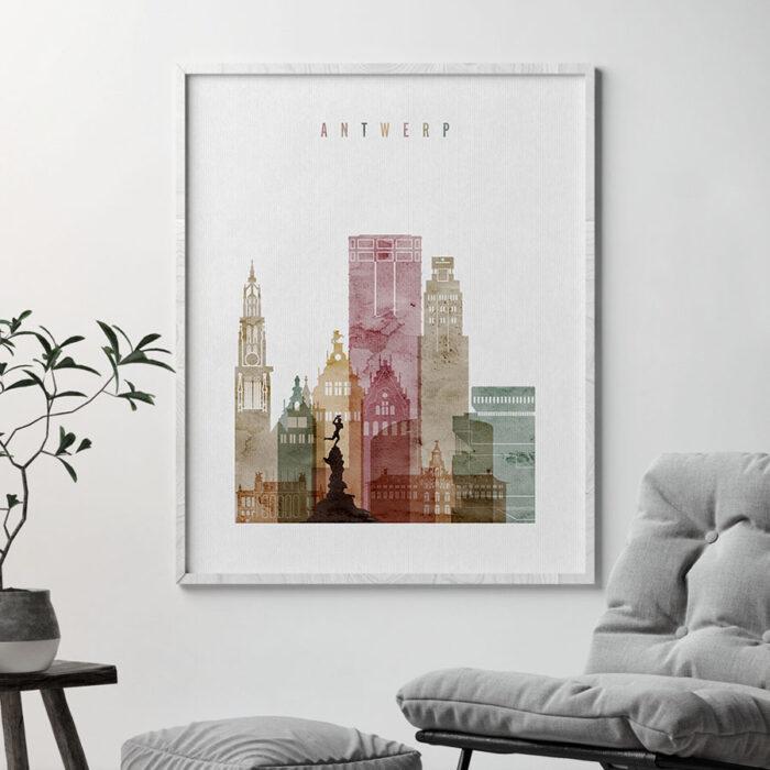 Antwerp Skyline Print Watercolor 1 Second