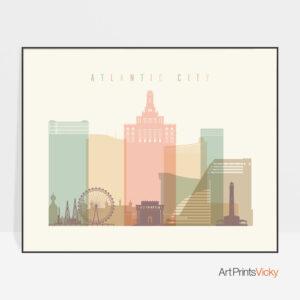 Atlantic City poster pastel cream landscape