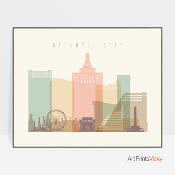 Atlantic City poster pastel cream landscape