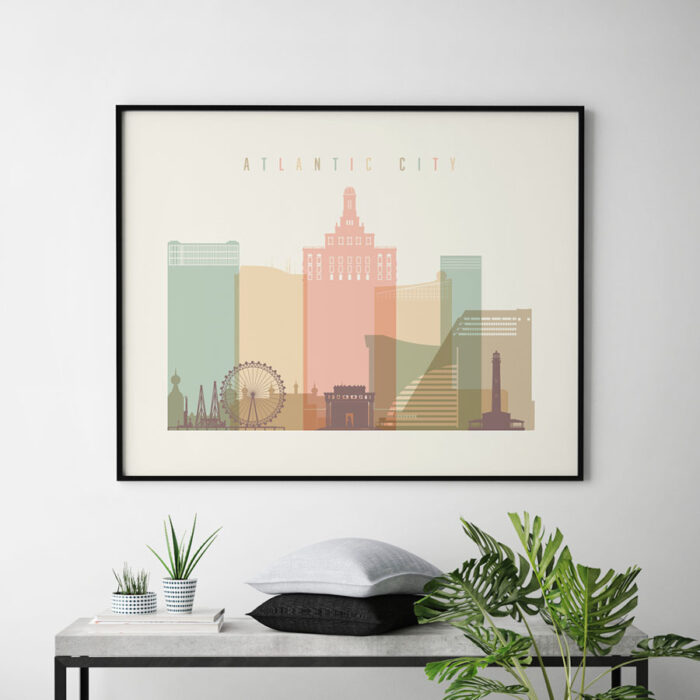 Atlantic City poster pastel cream landscape second