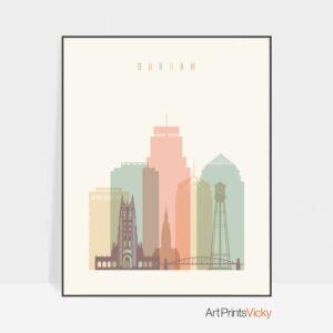 Durham Skyline Art Pastel Cream