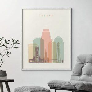 Durham Skyline Art Pastel Cream Second