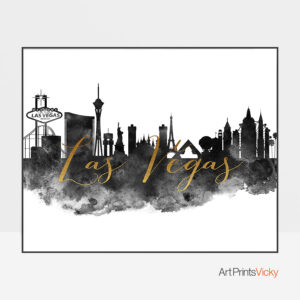 Las Vegas wall art print black and white