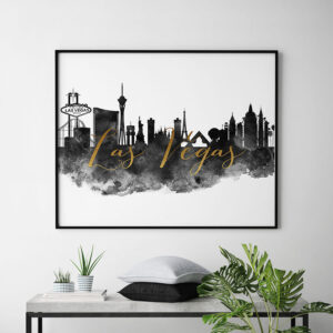 Las Vegas wall art print black and white second