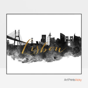 Lisbon wall art print black and white