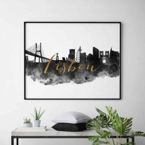 Lisbon wall art print black and white second