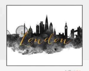 London wall art print black and white
