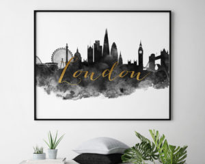 London wall art print black and white second