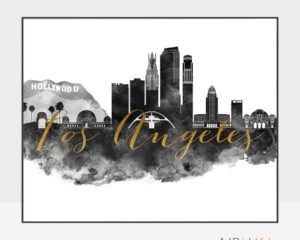 Los Angeles wall art print black and white