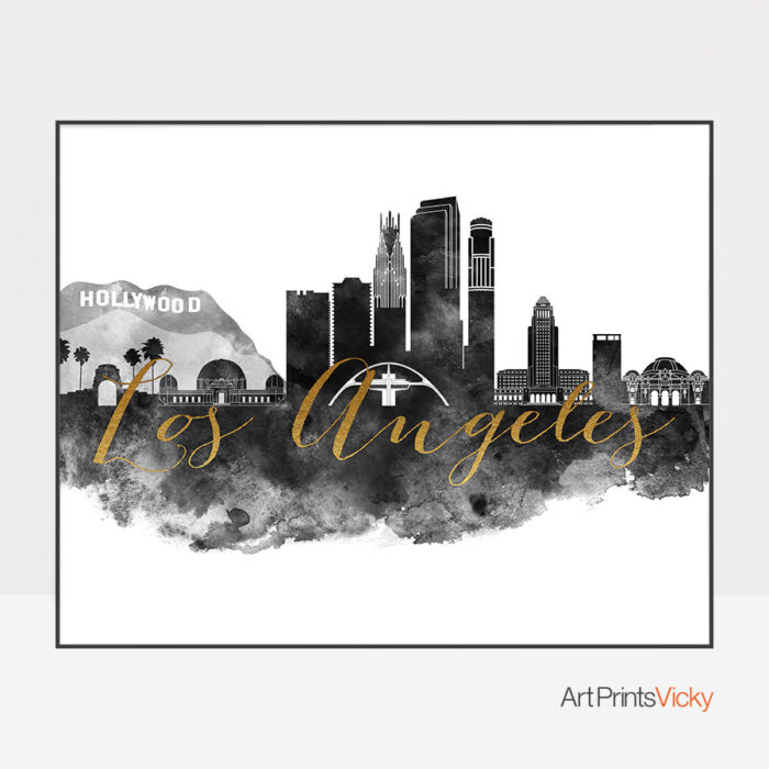 Los Angeles wall art print black and white