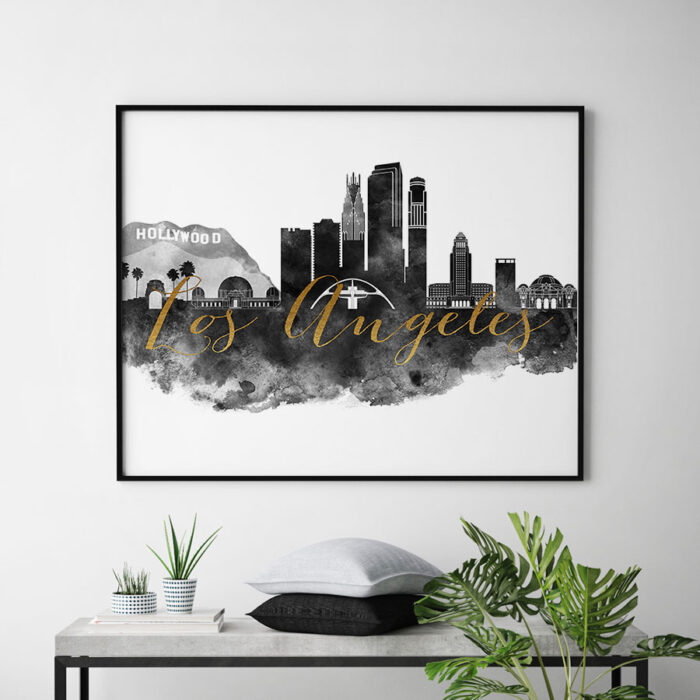 Los Angeles wall art print black and white second