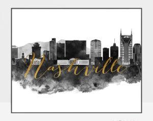 Nashville wall art print black and white