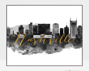 Nashville wall art print black and white