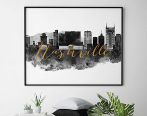 Nashville wall art print black and white second