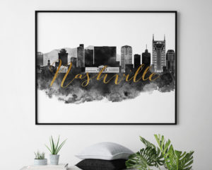 Nashville wall art print black and white second