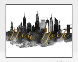 New York City wall art print black and white