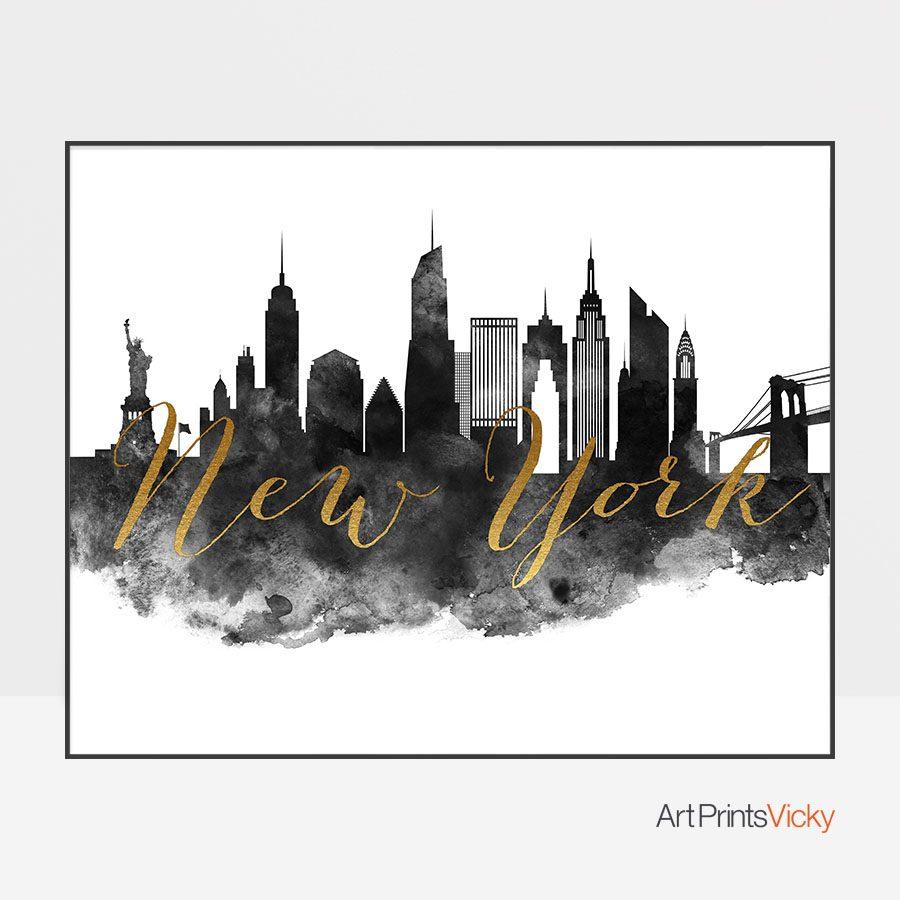 New York City wall art print black and white