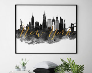 New York City wall art print black and white second