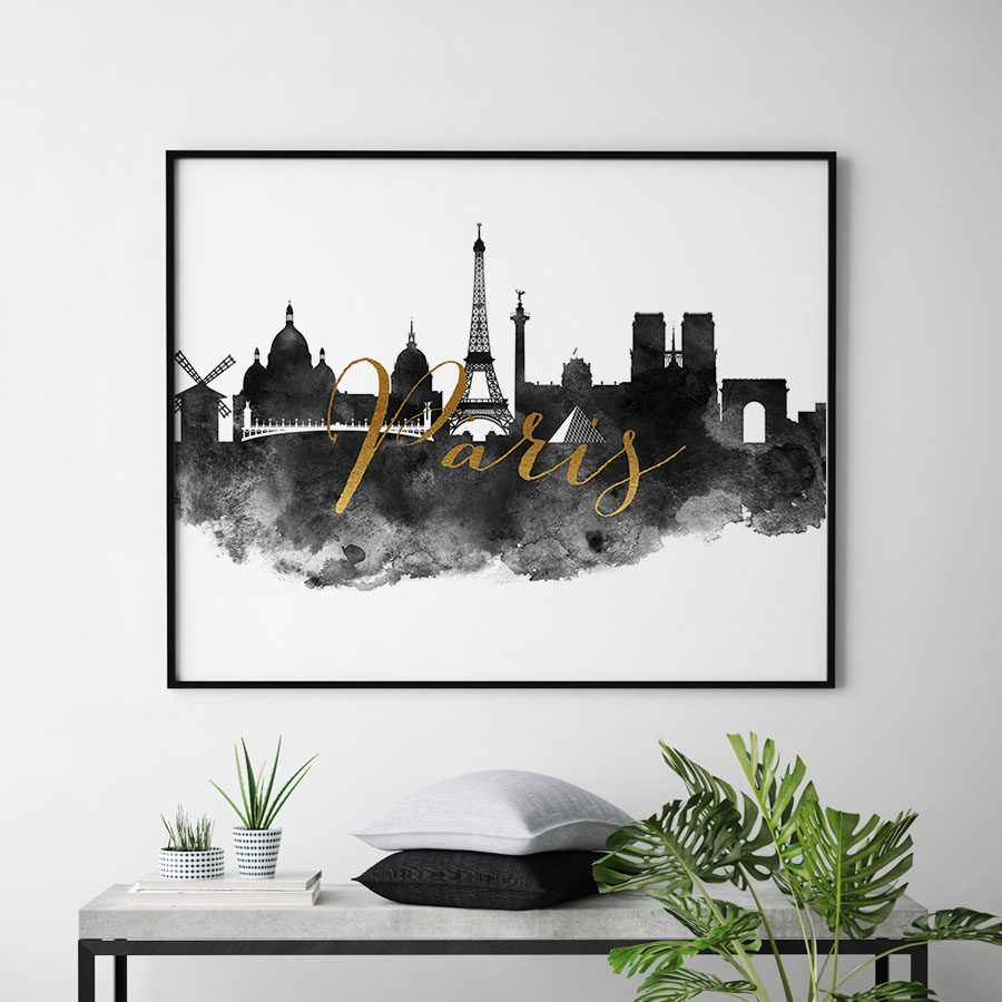 Paris wall art print black and white second
