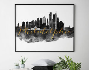 Philadelphia wall art print black and white second