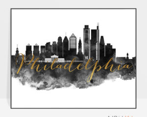 Philadelphia wall art print black and white