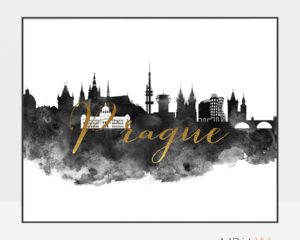 Prague wall art print black and white