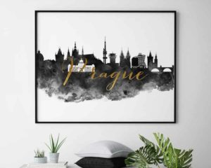 Prague wall art print black and white second