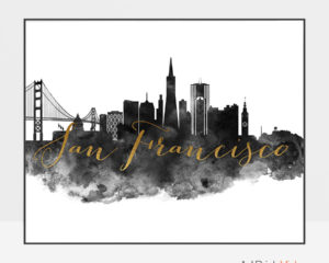 San Francisco wall art print black and white