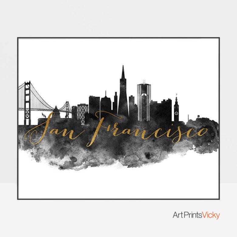 San Francisco wall art print black and white