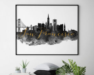San Francisco wall art print black and white second