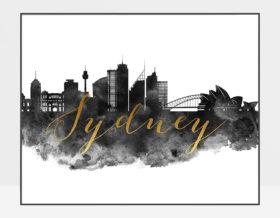 Sydney wall art print black and white