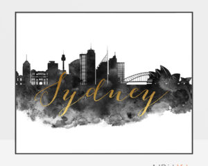 Sydney wall art print black and white