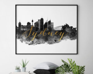 Sydney wall art print black and white second