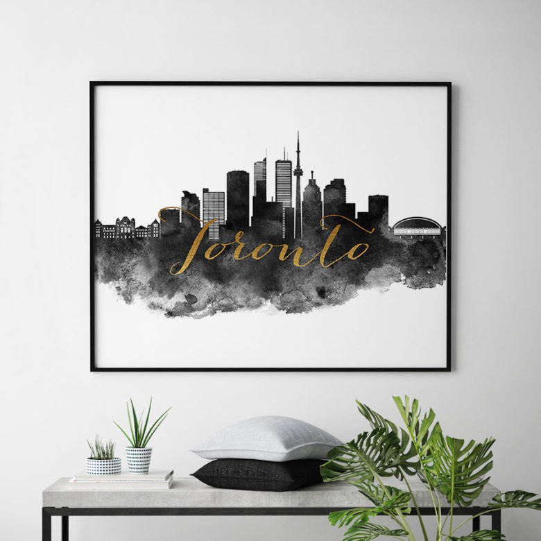 Toronto wall art print black and white second
