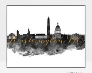 Washington DC wall art print black and white