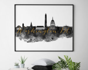 Washington DC wall art print black and white second