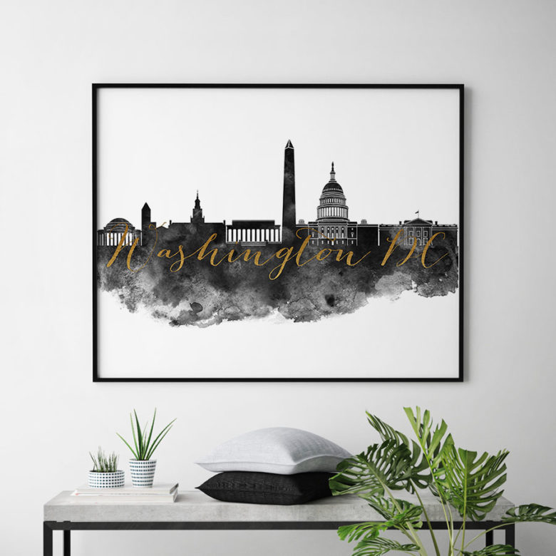 Washington DC wall art print black and white second