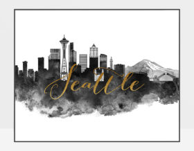 Seattle cityscape poster watercolor black white