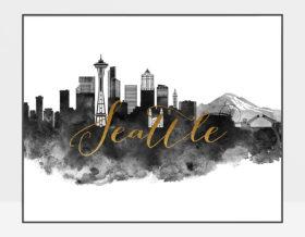 Seattle cityscape poster watercolor black white