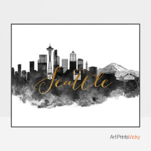 Seattle cityscape poster black white