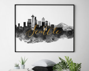 Seattle cityscape poster watercolor second