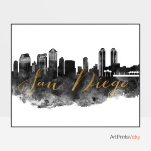 San Diego wall art print black and white